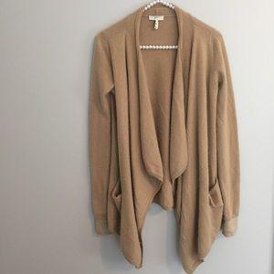 Joie Tan Cashmere Wool Open Drape Cardigan
